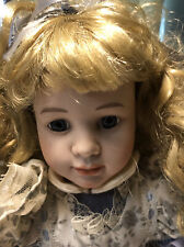 Dynasty porcelain doll Blonde hair blue eyes with stand