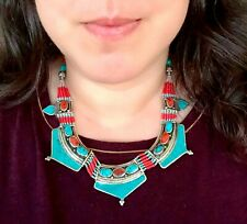 Nepal Tibetan Silver Bib Necklace Turquoise Nepalese Ethnic Coral Jewelry Boho