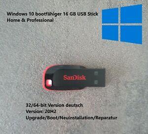 Windows 10 Home+Pro Boot USB Stick 20H2   Reparatur   Neuinstallation 32/64-bit