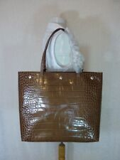 NWT FURLA Tortora Distressed Croc Embossed Leather D-light Tote Made in Italy