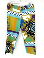 Insight Womens Multicolor Colorblock Buttoned Pull On Casual Dress Pants Size 8