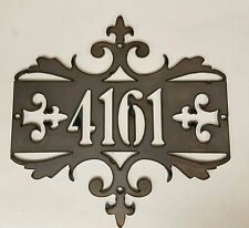 Vintage Looking Fleur-De-Lis Metal Address Sign * Hang On Any Wall In Your Home