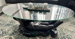 Glass Oval Coffee Table Hand Design - Black
