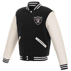NFL Las Vegas Raiders Reversible Fleece Jacket PVC Sleeves 2 Front Logos JHD