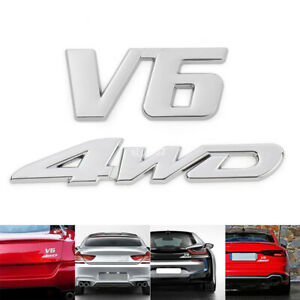 2xChrome Metal 4WD+V6 Trunk Sport Badges Stickers Emblems for Offroad SUV Pickup