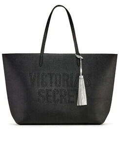 VICTORIAS SECRET LASER CUT TOTE HOLIDAY '19 BLACK WEEKEND BAG TASSEL SPELLED OUT