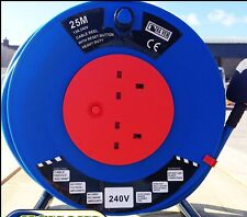 Extension Cable Reel 220V 25m 2.5mm 2 Sockets out. HEAVY DUTY. NEW.