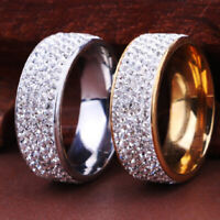 Stainless Steel Gold Silver Crystal Ring Men Women Wedding Band Rings Size 7-12