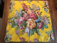 "Ralph Lauren Floral Bright Yellow Throw Pillow Cover Pillowcase 21"" Square Rare"