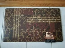 Anti Fatigue Cook N' Comfort Kitchen Floor Mat Rug 18x30 Damask Floral Brown