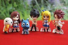 New 6pc Fairy Tail Action Figures Happy Plue Natsu Lucy Gray Elza  3.5 cm - 5 cm