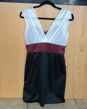 LADIES BLACK/ BURGUNDY/CREAM DRESS UK10 BNWT