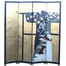 Oriental Screen-Japanese Kimono on Gold Background Room Divider (SN4-JCL)