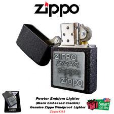 Zippo Pewter Emblem Lighter, Crackle, Genuine Windproof #363