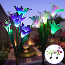 2 Pack Solar Garden Lights Outdoor Multi-Color Lily Flowers For Patio Decoration