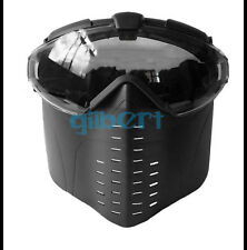 Black Goggle Military Full Face Tactical Mask with Fan Hunting Airsoft Safety