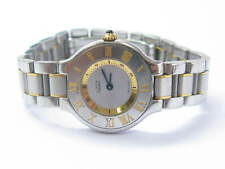 CARTIER MUST DE 21 STAINLESS STEEL & 18K YELLOW GOLD WATCH 1340 COM1898