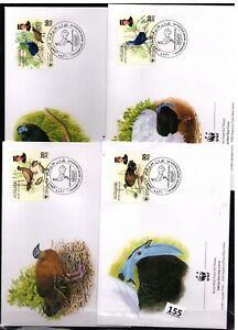 /// BRUNEI - 4 FDC - WWF - NATURE - BIRDS - PLANTS - 2001