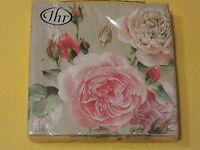 1 Packung 20 Servietten TEA ROSE Rosen rosa rose roses 1/2 Blumen IHR