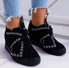 Womens Hidden Concealed Wedge Heel Casual Slip On Shoes Sneakers Trainers Size 4
