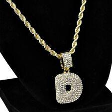 "Bubble Letter D Initial Rope Chain Pendant Gold Finish Hip Hop Necklace 24"""