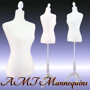 Vintage-style female mannequin white toros+ white tripod stand+ dress form-L02