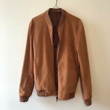 Topman Suede Bomber Jacket Men's Rust / Orange Brand New