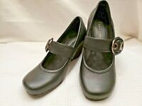 BARE TRAPS DANDY WOMENS MARY JANE WEDGE SHOES CLOGS SZ 6M BLACK LEATHER BUCKLE
