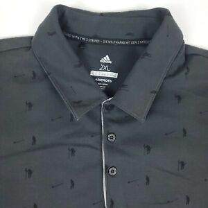 Adidas Golf Print Gray Mens Short Sleeve Polo Shirt Size 2XL