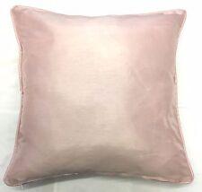 "Blush Pink Faux Silk Piped Edge Cushion Cover 17"" x 17"" Pillow Case"