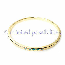 SAMANTHA WILLS New Aztec Dreaming Bangle Gold Turquoise Tag & Pouch