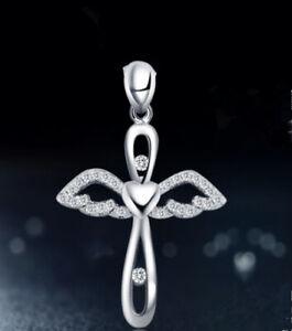 Angel Cross Necklace 925 Sterling Silver Chain Pendant Women Jewellery Love Gift
