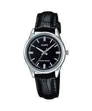Casio Women's Black Leather Strap Watch, Black Dial,  LTP-V005L-1A