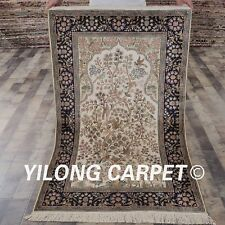 YILONG 3'x5' Great Handmade Silk Carpets Tree of Life Hand Knotted Rugs L127A