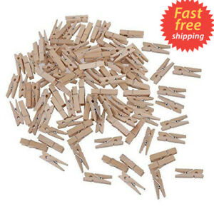 100 Mini Wood Pegs Craft Wedding Hanging Photo Small Clips Wooden Tiny Art Clip