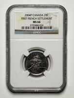 2004P Canada 25 Cents St. Croix Coin NCG MS 66