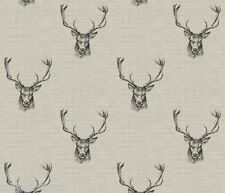 """1m/39"""" stag head wipe clean oilcloth pvc cotton fabric christmas TABLECLOTH CO"""