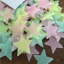 """PKG of 200 GLOW IN THE DARK 1.25"""" to 1.5"""" BLUE, YELLOW, or MULTI-COLORED STARS"""