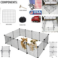 Pet Playen Heavy Duty Metal Cage Crate 12-Panel Dog Fence Portable Wire Kennel