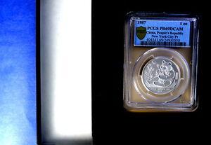 """1987 China Panda Platinum """"NY Coin Expo"""" Proof 1 oz  PCGS Graded PR69Deep Cam"""