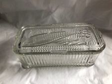 "Vintage Anchor Hocking Clear Glass Refrigerator Dish Vegetable Lid Oblong 8"""