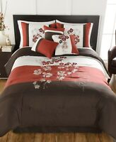 Hallmart Collectibles 7 Piece CAL KING Comforter Set Finnette RED/BROWN L97538