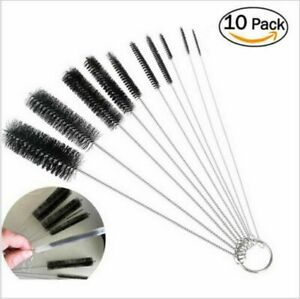 US Nylon Straw Brush Cleaner Bottle Tube Pipe Small Long Cleaning 10Pcs Set