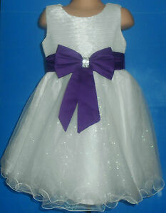 Cadbury Purple Ivory Flower Girl Bridesmaid Prom Sparkly Bow Party Dress 0m-14y