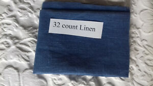 A Piece of 32 count Dark Blue Linen 30 x 22 inches (76 x 56 cms)