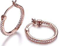 ELLE Jewelry - Rose Gold Plated Sterling Silver Inside Outside CZ Hoop Earrings