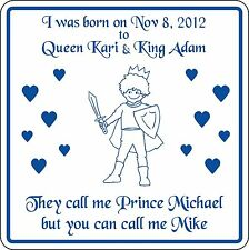 New Personalized Custom Name Prince Sign Birth Announcement Boy's Room Birthday