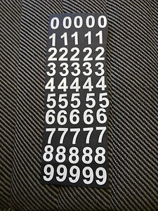 """White Sticky Vinyl/plastic Numbers 25mm (1"""") High x 50 crafts,office waterproof."""
