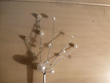 NEW! 2 PRETTY PEARL & BEAD SILVER SPRAYS WEDDING BOUQUET FLORAL CAKE DECORATION