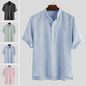 Mens Short Sleeve Solid Casual Loose Fit Shirts Button Up Tops Formal Blouse Tee